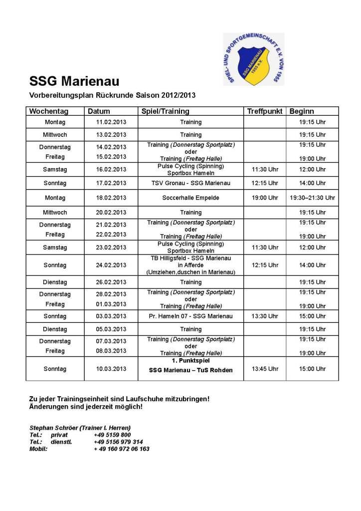 Vorbereitungsplan 2013